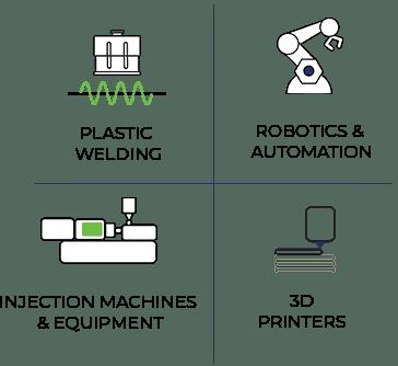 ארבע תחומים עיקריים: מדפסות תלת מימד לתעשייה, רובוטיקה, מכונות וציוד לתעשיית הפלסטיק, הלחמה אולטראסונית ולייזר.